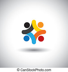 Konzept der Gemeinschaft Einheit, Solidarität & Menschen Icons - Vektorgrafik. Diese Abbildung kann auch farbenfrohe Kinder darstellen, die zusammen spielen, Kinder auf dem Schulplatz, Mitarbeiter treffen