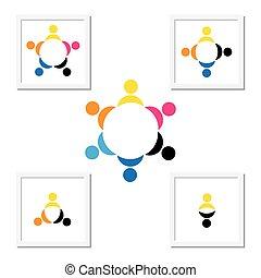 Konzept der Kinder spielen, Teamwork und Vielfalt