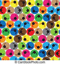 Konzept der Menschengruppe, Gemeinschaft, Arbeitskräfte, Team. Die Illustration enthält farbenfrohe Ikonen von Menschen in Kreisen, die nebeneinander liegen und Arbeitnehmer, Kinder oder Männer oder Studenten usw. repräsentieren