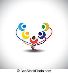 Konzept des glücklichen Familienbaum mit Mitgliedern als Blumen - Vektorgrafik. Diese Grafik repräsentiert auch Studenten der Schule, glückliche Kinder, spielerische Kinder, Menschen haben Spaß, fröhliche Gemeinschaft