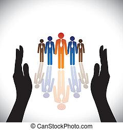 Konzept-sichere (Schutz) Unternehmensmitarbeiter oder Führungskräfte mit Handsilhouette.