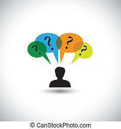 Konzept Vektor denken - Mann mit Sprachblasen & Fragen. Diese Grafik illustriert auch unbeantwortete Fragen, Zweifel, viele Gedanken, Untersuchungen usw