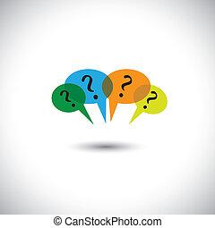 Konzept Vektor-Leute chatten - viele Sprachblasen & Fragen.