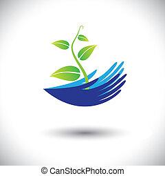 Konzept Vektorgrafik-Frauen Hände mit Pflanzen oder Säugling Icon(Symbol). Die Abbildung kann Konzepte wie Umweltschutz, Pflanzenschutz, Waldschutz usw. darstellen