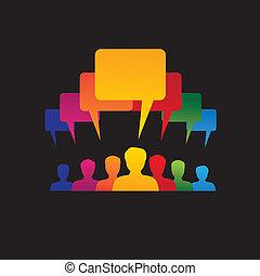 Konzept Vektorgrafik- Leader & Arbeiter sprechen ( Sprachblase