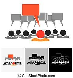 Konzept Vektorgrafik - Leader & Mitarbeiter sprechen ( Redeblasen)