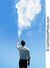 Konzeptuelles Bild eines Mannes, der eine Wolke streut.