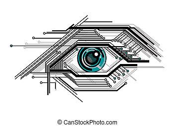Konzeptuelles technisiertes Auge.