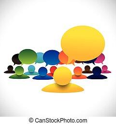 Konzeptvektor von Leader & Mitglieder sprechen, Manager Meeting empl