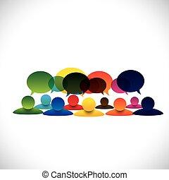 Konzeptvektor von Personengruppengesprächen oder Mitarbeiterdiskussionen