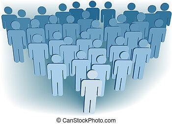 Konzernverschwörung oder Bevölkerung von 3D symbolisieren Menschen