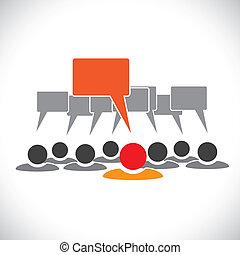 Konzipieren Sie Vektorgrafik-Führer & Mitarbeiter, die reden (Sprechblase