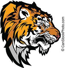 kopf, abbildung, profil, tiger, maskottchen, grafik