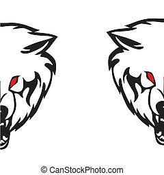 kopf, abbildung, wolf., vektor