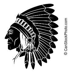 kopf, apache, vektor, abbildung