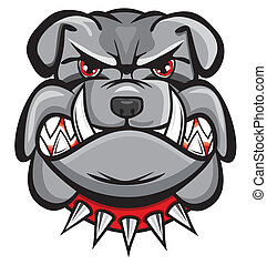 kopf, böser , bulldogge