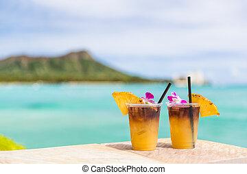 kopf, cocktails, berühmt, getrãnke, waikiki, reise, urlaub, berg, ansicht, anziehungskraft, sandstrand, hawaii, getränk, wasserlandschaft, bar, hawaiianer, honolulu, mai, hawaii., diamant, tourist, tai