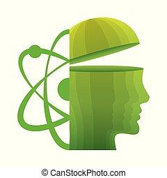 Kopf denken grüne Molekülatome.