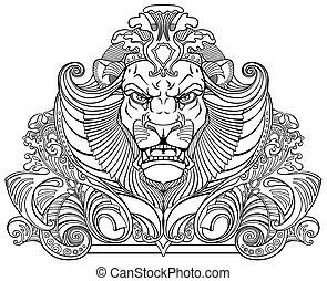 Kopf des Löwen, schwarzweiß
