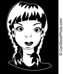 Kopf des Mädchens auf schwarz.