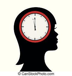 Kopf einer Frau mit Uhr im Gehirn.