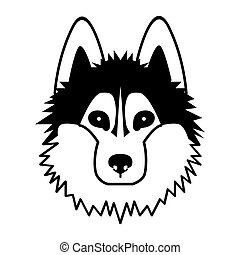 Kopf eines Hundes. Schwarzer Vektor