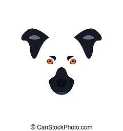 Kopf eines schwarzen und weißen Hundes mit orangen Augen.