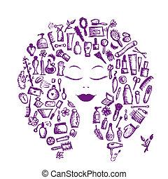 kopf, frau, begriff, kosmetisch, accessoirs, design, weibliche , dein