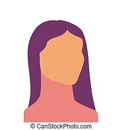 kopf, gefärbt, gesicht, weibliche , front, ansicht., silhouette.