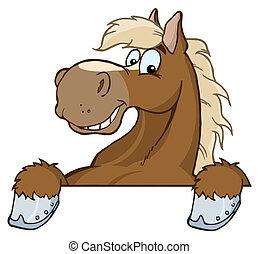 kopf, karikatur, maskottchen, pferd