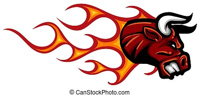 kopf, vektor, design, feuerflammen, abbildung, stier