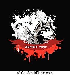 kopf, vektor, hülse, sibirisch, hunden
