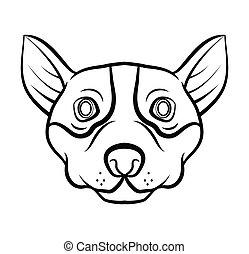 kopf, vektor, hund, abbildung