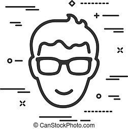 kopf, weißes, brille, mann, linien, hintergrund, ikone, wohnung, glücklich