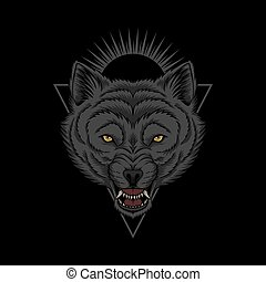 kopf, wolf, abbildung, böser