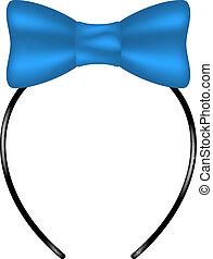 Kopfband mit Bogen in blauem Design.