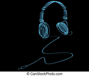 Kopfhörer röntgenblau transparent isoliert auf schwarz.