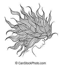 Kopfmädchen mit schönen Haarfliesen.