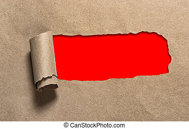 kopieren platz, papier, loch, rotes , handwerk, zerrissene