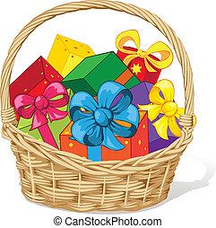 korb, geschenke, voll