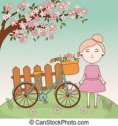 korb, m�dchen, karikatur, fahrrad, zweig, baum, blumen, zaun