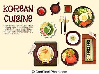 Koreanische erfrischende Sommergerichte flache Ikone