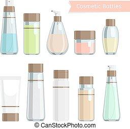 Kosmetik-Flaschenprodukte eingestellt