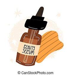 kosmetikartikel, concept., sha, oder, schoenheit, schaber, schoenheit, sauber, jade, organische , anti-altern, gesicht, routine, serum., gua