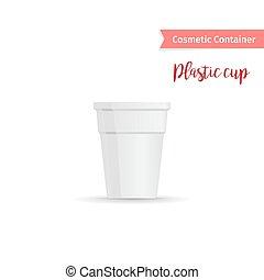 Kosmetikbehälter weißer Plastikbecher