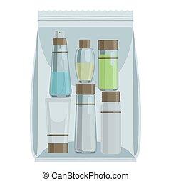 Kosmetikflaschen in Plastiktüten.