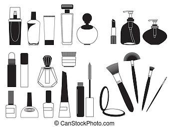 Kosmetikprodukte .Vector-Sammlung auf weiß zum Nachmachen