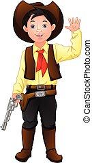kostüm, reizend, junge, cowboy, tragen