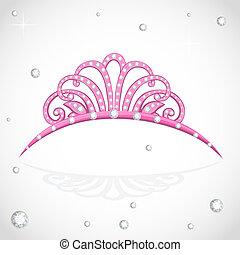 kostbar, weißes, freigestellt, tiara, steine, glänzend, hintergrund, rosa
