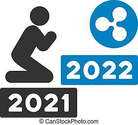 kräuselung, wohnung, 2022, beten, vektor, ikone, mann